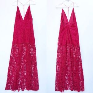 The Jetset Diaries Red Lace Sleeveless Maxi Dress